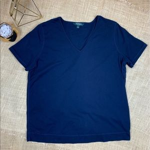 RALPH LAUREN Top T Shirt Short Sleeve Navy Blue